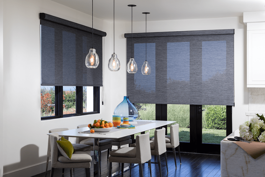 Roller shades in a kitchen