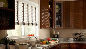 White Faux Wood Blinds in Kitchen